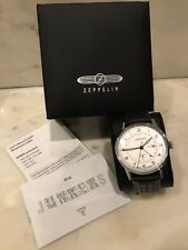 Junkers G38 GMT Men's Analog Date Watch White Dial Black Strap 6946-3