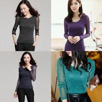 Women Sexy Glitter Tops Shiny Mesh Long Sleeve Blouses Solid Slim T-Shirts NEW