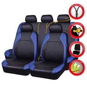 Universal Car Seat Covers Blue Black PU Leather Waterproof Airbag For SUV VAN