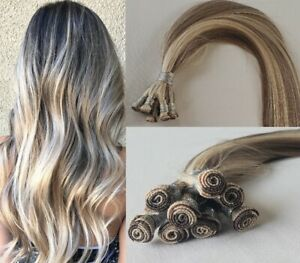 """18"""", 20″, 22"""" Hand-Tied Weft, 100 grams, Human Remy Hair Extensions #7/60"""