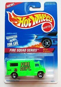 Hot Wheels Fire Squad Series Ambulance #1 1996 Near Mint Card MOSC 424 15273