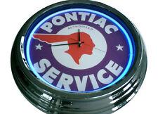 N-0205 Pontiac - Deko Retro Neon Uhr Clock Wanduhr Neonuhr Neonclock Werkstatt