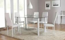 Glass Dining Room Table & Chair Sets with 6 Pieces
