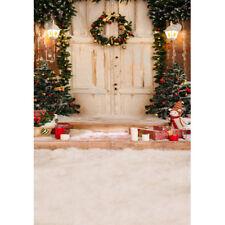 5x7ft Vinyl Winter Christmas House Door  Wreath Photo Studio Backdrop Background