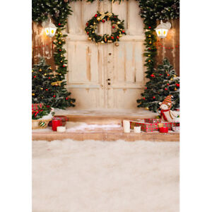 5x7ft Vinyl Winter Christmas House Door  Wreath Photo Studio Backdrop Background