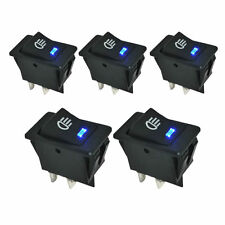 5pcs 12V 35A Car Rocker Toggle Fog Light Hi/Low Switch 4Pin Blue LED Dashboard