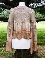 NEW Free People nude tan Ombre Linen Crochet Tassel Tie Cardigan Jacket XS