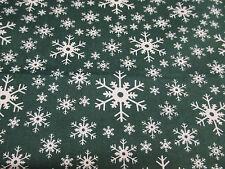 """verde y Blanco"""" Copos De Nieve"""" Navidad Tejido Estampado De Polialgodón"""