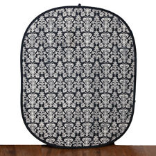 Collapsible Black & Off White Photography 5x6 Damask Design Backdrop EUC