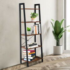 5-Tier Ladder Shelf Bookshelf Bookcase Plant Stand Storage Rack Metal Wood