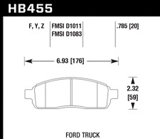 Hawk Disc Brake Pad-XL Front for Ford F-150 / Lincoln Mark LT # HB455Y.785
