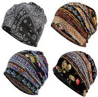 Men Women Cotton Blended Hippie Paisley Floral Slouch Baggy Ski Beanies Hats Cap