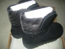 New UGG Australia Adria Suede Deco Strap Short Black Boots Womens Size 10