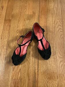 Pas De Rouge Black Suede Peep Toe T Strap Wedge Shoe Size 37/7