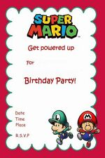 "Nintendo Mario Bros Game KIDS Birthday Party Invitations Boy or Girl 10PCS 4""x6"""