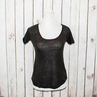 28c6186bcd ANINE BING Women's Designer Scoop Neck Tee Shirt Gray 100% Linen Size XS