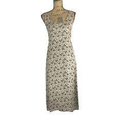 DKNY Classic 4 Sm S Dress 100% Silk Taupe Olive Green Burgundy Floral Midi Shift