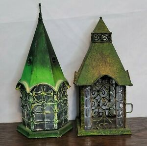 Metal Lanterns Glass Woodland Faerie Rustic Cabin Wedding Candle Tealight  lot 2