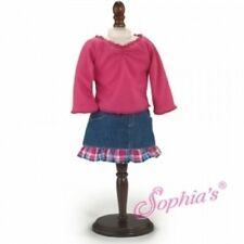 "Plaid Trimmed Denim Skirt & Pink Top fits American Girl & Other 18"" dolls"