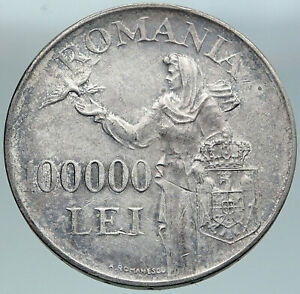 1946 ROMANIA Michael I Romanian Lady Bird Antique Silver 100000 Lei Coin i87513