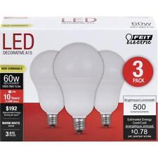 3-Pack LED CANDELABRA BASE Soft WARM WHITE Feit 60W Equivalent = 6W Light Bulbs