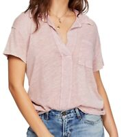 Free People Womens Blouse Classic Light Pink Size Small S Knit Posh Tee $58- 434