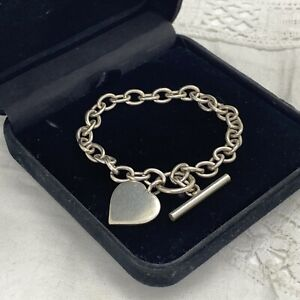 STERLING SILVER Chunky Heart Charm Bracelet 925 Chain Toggle Clasp Unisex Love