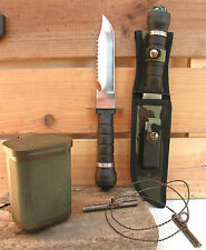 Couteau de survie+Boite US étanche+Scie à bois+Accessoires Chasse Peche Survie