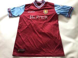 Adult Men's Aston Villa Home  Short Sleeved Football Shirt Jersey Small Vassell