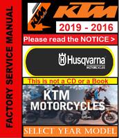 KTM Repair Service Workshop (PDF) Manual 2016, 2017, 2018, 2019