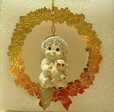 "Dreamsicles Ornament, Angel Figurine Floating In Gold Tone Wreath Frame, 4"" Tall"