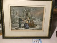 Antique Hand-Coloured Lithograph The Soldiers Farewell...the Parents Gift Framed