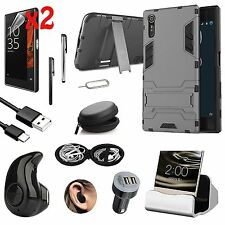 Black Kickstand Case Cover Wireless Headset Accessory Bundle For Sony Xperia XA