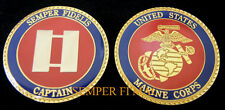 CAPTAIN CHALLENGE COIN US MARINES 0-3 SKIPPER USMC VET PIN UP PROMOTION MR CO-3