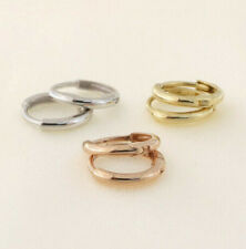 3 TINY Pairs of Solid 14K Yellow White & Pink Rose Gold Huggies Hoop Earrings