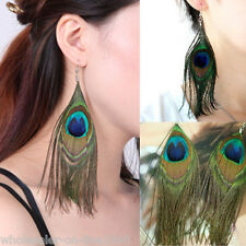 New Fashion Cute Lady Peacock Feather Earrings Dangle Style Earrings