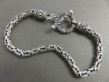 "7 3/4"" Sterling Silver WOVEN BALI BYZANTINE BRACELET with Ornate Toggle Clasp"