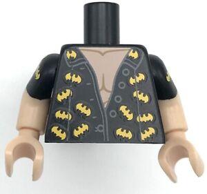 Lego New Black Torso Batman Open Shirt with Dark Bluish Gray Buttons