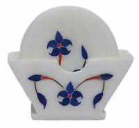 Flower Engraved Hand Carved Marble Coaster Gem Inlay Table Decor Coasters Set