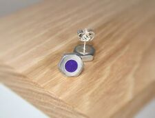 Silver Hex Nut Stud Earrings With Violet Pearl Acrylic Inlay ~ Handmade