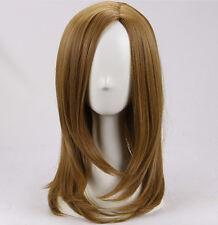 Women gold brown medium long wavy cosplay wig +a wig cap