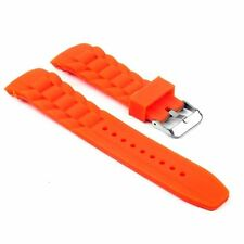 StrapsCo Waterproof Silicone Watch Band Ribbed Curved End Rubber Strap in Orange