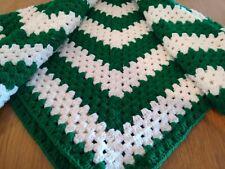 Knit Crochet afghan Throw lap Blanket square stripe White green MSU colors 42x42