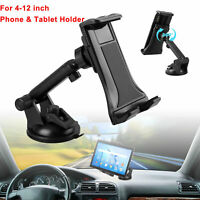 """360° Universal Windshield Car Mount Holder Stand for Phone & 4-12"""" Tablets Pad"""