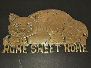 Cat Brass Wall Key Holder W/5 Hooks Home Sweet Home VTG