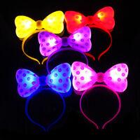 Glowing LED Light Bowknot Headband Luminous Hair Clip Pin Cute Girls Accessories
