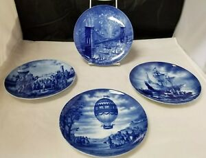 Berlin Design Genuine Fathers Day Plates: Set of 4 1971-1974, West Germany Blue