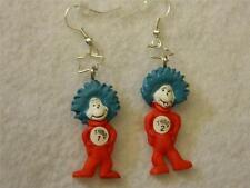 Dr Seuss Earrings Thing 1 & 2 Cat in the Hat Jewelry Pierced Silver Hook Dangle