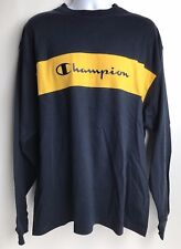 94729da8 Champion Shirt Long Sleeve Men's XL New With Tags NWT Spellout Navy Blue  Yellow