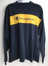 Champion Shirt Long Sleeve Men's XL New With Tags NWT Spellout Navy Blue Yellow